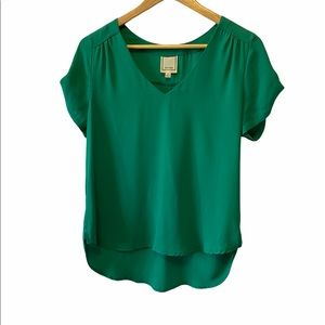 MERAKI Green Light Loose Fit V Neck Top S